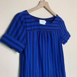 Anthropologie Dresses - HD in Paris Cerulean Blue Striped Shift Dress
